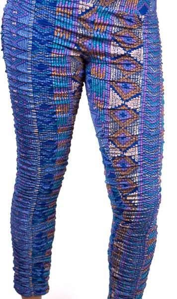 M056A Rouched Print Legging - Mishu Boutique