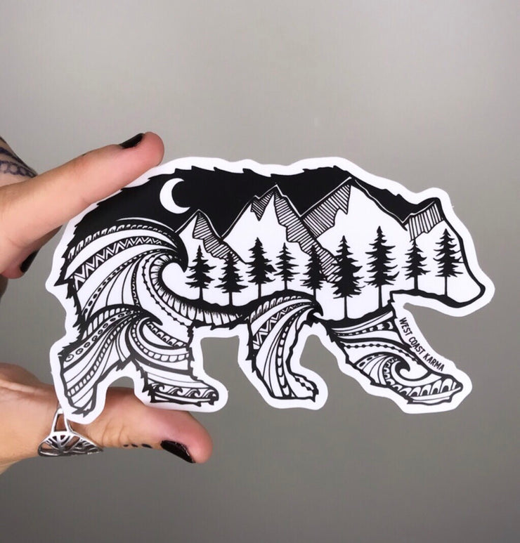 Nature Spirit Bear Vinyl Sticker
