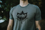 Maple Wolf Mens Tee in Deep Heather