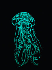 Glow In The Dark Hand Printed Jellyfish Art