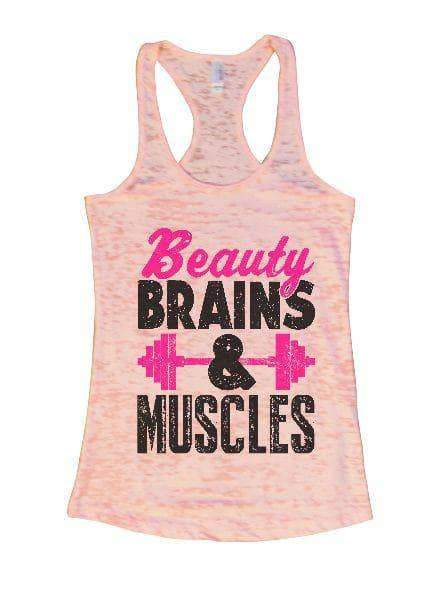 Beauty Brains & Muscles Burnout Tank Top By Womens Tank Tops Small Womens Tank Tops Light Pink