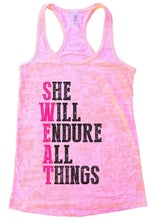 SHE WILL ENDURE ALL THINGS Burnout Tank Top By Womens Tank Tops Small Womens Tank Tops Light Pink
