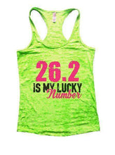 26.2 Is My Lucky Number Burnout Tank Top By Womens Tank Tops Small Womens Tank Tops Neon Green
