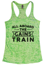 ALL ABOARD THE GAINS TRAIN Burnout Tank Top By Womens Tank Tops Small Womens Tank Tops Neon Green