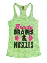 Beauty Brains & Muscles Burnout Tank Top By Womens Tank Tops Small Womens Tank Tops Neon Green