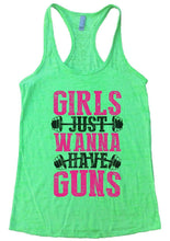 GIRLS JUST WANNA HAVE GUNS Burnout Tank Top By Womens Tank Tops Small Womens Tank Tops Neon Green