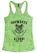 HOGWARTS ALUMNI - EST. 993 - Burnout Tank Top By Womens Tank Tops Small Womens Tank Tops Neon Green