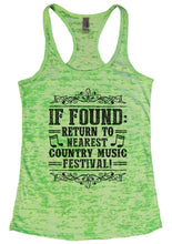 IF FOUND: RETURN TO NEAREST COUNTRY MUSIC FESTIVAL! Burnout Tank Top By Womens Tank Tops Small Womens Tank Tops Neon Green