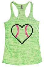 LOVE BASEBALL Burnout Tank Top By Womens Tank Tops Small Womens Tank Tops Neon Green