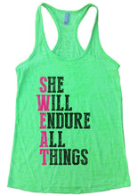 SHE WILL ENDURE ALL THINGS Burnout Tank Top By Womens Tank Tops Small Womens Tank Tops Neon Green