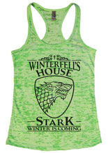 Winterfell's House Stark Winter Is Coming Burnout Tank Top By Womens Tank Tops Small Womens Tank Tops Neon Green