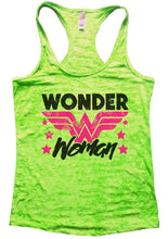 Wonder Woman Burnout Tank Sleeveless Super Hero Graphic Design Tank Small Womens Tank Tops Neon Green