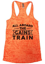 ALL ABOARD THE GAINS TRAIN Burnout Tank Top By Womens Tank Tops Small Womens Tank Tops Neon Orange