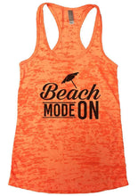 Beach MODE ON Burnout Tank Top By Womens Tank Tops Small Womens Tank Tops Neon Orange