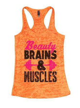 Beauty Brains & Muscles Burnout Tank Top By Womens Tank Tops Small Womens Tank Tops Neon Orange
