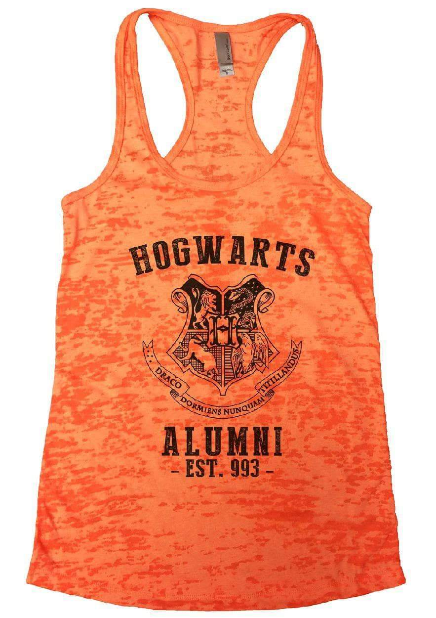 HOGWARTS ALUMNI - EST. 993 - Burnout Tank Top By Womens Tank Tops Small Womens Tank Tops Neon Orange