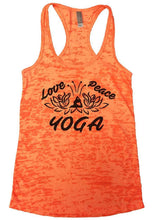 Love Peace YOGA Burnout Tank Top By Womens Tank Tops Small Womens Tank Tops Neon Orange