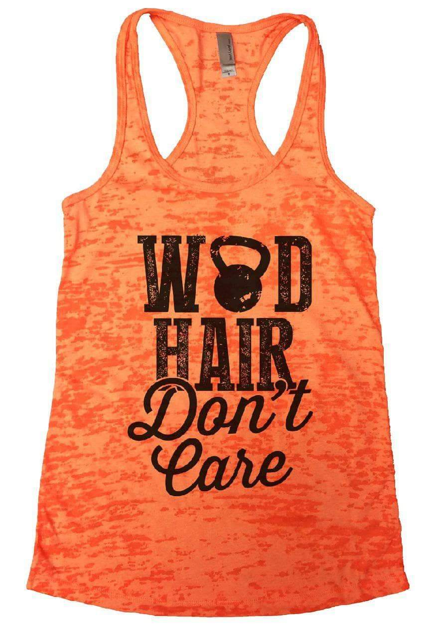 WOD HAIR Don't Care Burnout Tank Top By Womens Tank Tops Small Womens Tank Tops Neon Orange
