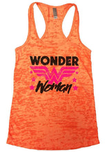 Wonder Woman Burnout Tank Sleeveless Super Hero Graphic Design Tank Small Womens Tank Tops Neon Orange