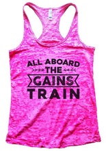 ALL ABOARD THE GAINS TRAIN Burnout Tank Top By Womens Tank Tops Small Womens Tank Tops Shocking Pink