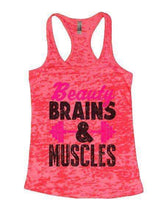 Beauty Brains & Muscles Burnout Tank Top By Womens Tank Tops Small Womens Tank Tops Shocking Pink