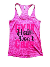 GYM Hair Don't Care Burnout Tank Top By Womens Tank Tops Small Womens Tank Tops Shocking Pink