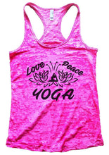 Love Peace YOGA Burnout Tank Top By Womens Tank Tops Small Womens Tank Tops Shocking Pink