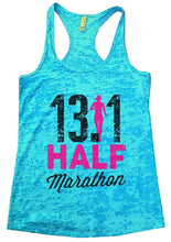 13.1 HALF Marathon Burnout Tank Top By Womens Tank Tops Small Womens Tank Tops Tahiti Blue