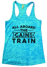 ALL ABOARD THE GAINS TRAIN Burnout Tank Top By Womens Tank Tops Small Womens Tank Tops Tahiti Blue