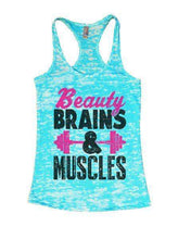 Beauty Brains & Muscles Burnout Tank Top By Womens Tank Tops Small Womens Tank Tops Tahiti Blue