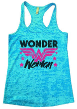 Wonder Woman Burnout Tank Sleeveless Super Hero Graphic Design Tank Small Womens Tank Tops Tahiti Blue