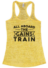 ALL ABOARD THE GAINS TRAIN Burnout Tank Top By Womens Tank Tops Small Womens Tank Tops Yellow