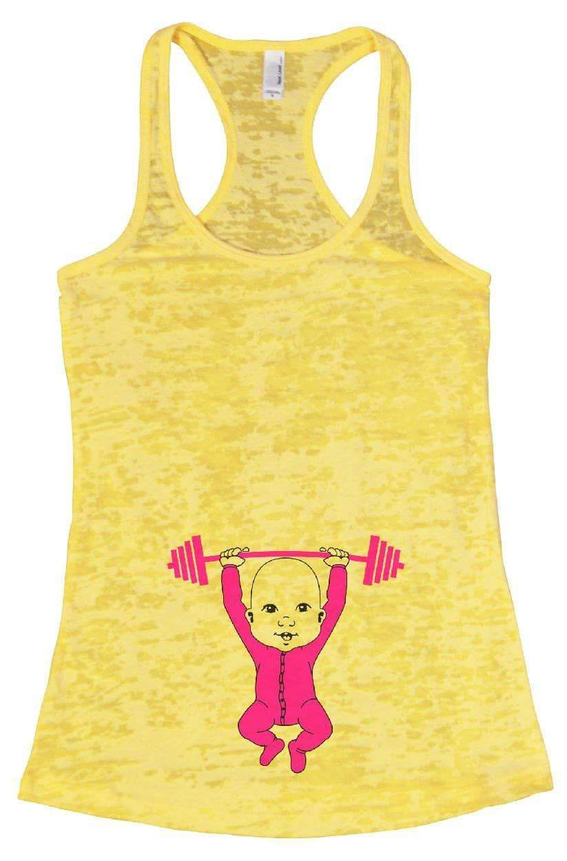 Baby Weightlifting Burnout Tank Top By Womens Tank Tops Small Womens Tank Tops Yellow