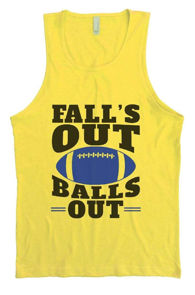 Fall's Out Balls Out Mens Tank Top By Womens Tank Tops Small Womens Tank Tops Yellow