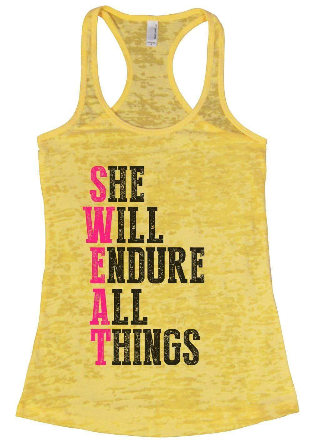 SHE WILL ENDURE ALL THINGS Burnout Tank Top By Womens Tank Tops Small Womens Tank Tops Yellow