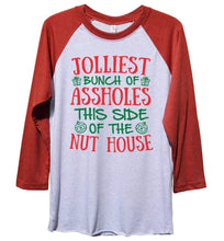 Cute Baseball Tee Jolliest Bunch Of Assholes This Side Of The Nut House Funny Christmas - Unisex Baseball Tee Mens And Womens Extra Small Womens Tank Tops Red Sleeve - White Front