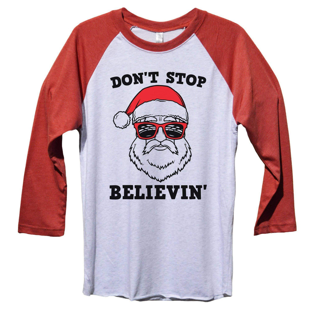 Don't Stop Believin' Funny Christmas - Unisex Baseball Tee Mens And Womens  Womens Tank Tops