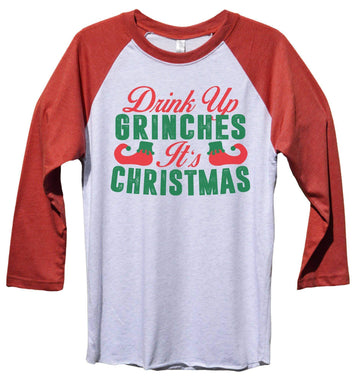 Drink Up Grinches It's Christmas Funny Christmas - Unisex Baseball Tee Mens And Womens  Womens Tank Tops