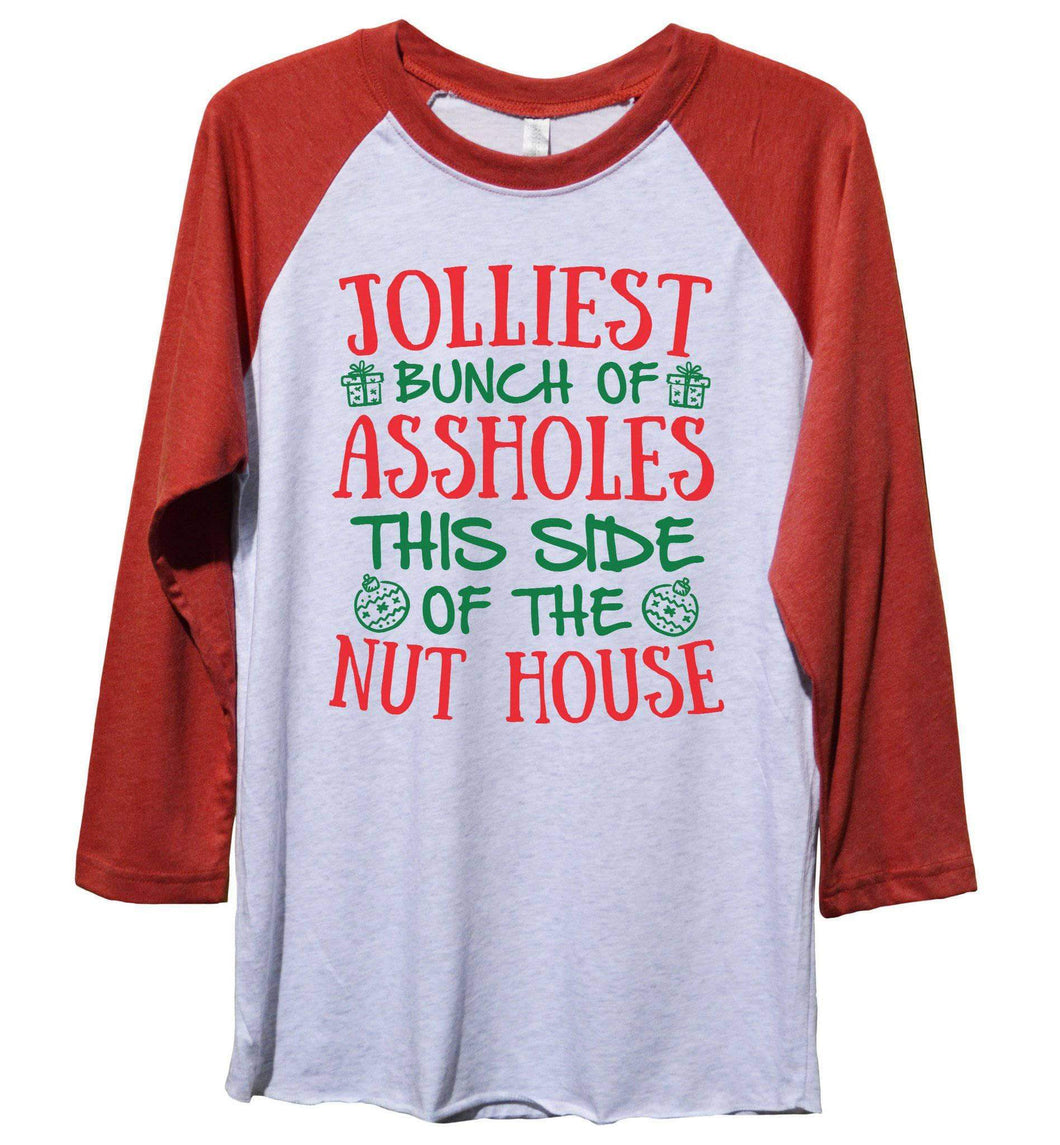 Jolliest Bunch Of Assholes This Side Of The Nut House Funny Christmas - Unisex Baseball Tee Mens And Womens Extra Small Womens Tank Tops Red Sleeve - White Front
