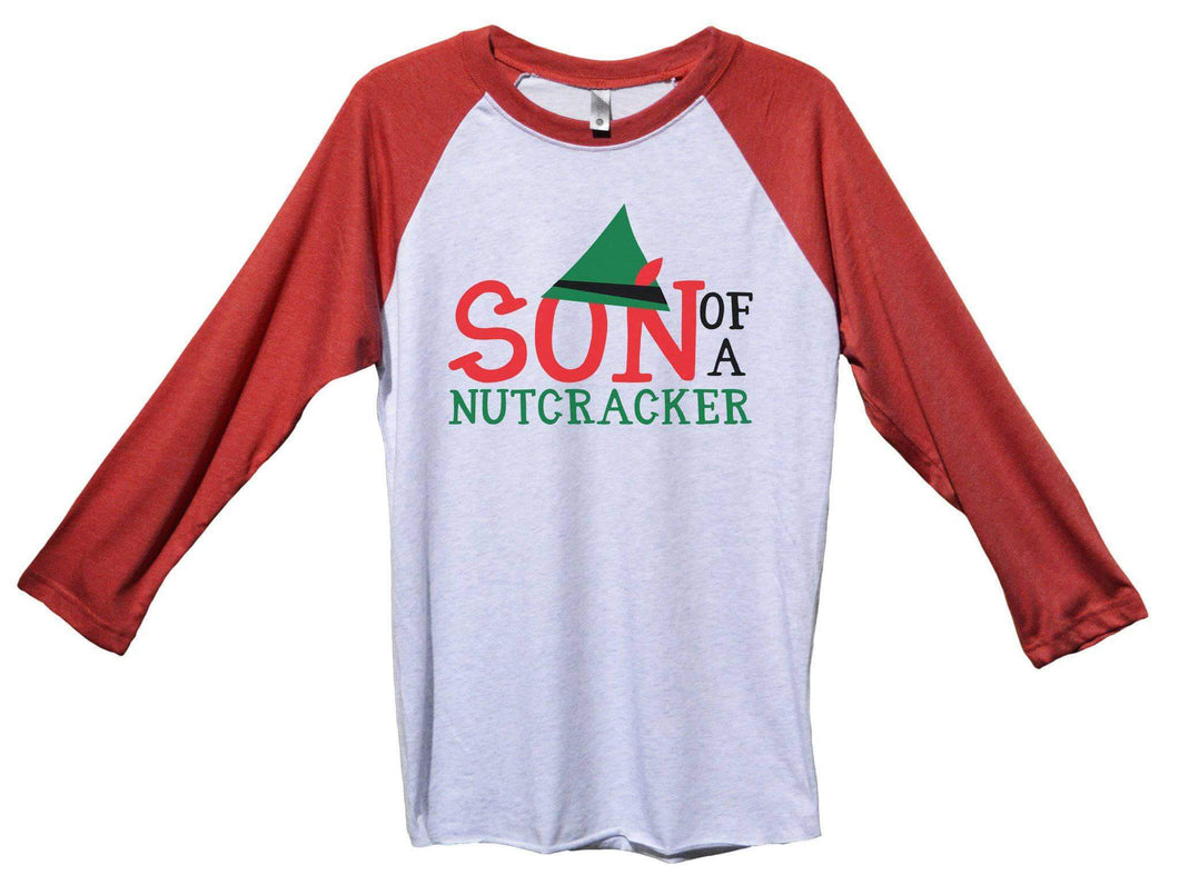 Son Of A Nutcracker Funny Christmas - Unisex Baseball Tee Mens And Womens Extra Small Womens Tank Tops Red Sleeve - White Front