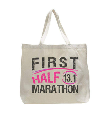 First Half Marathon 13.1 - Trendy Natural Canvas Bag - Funny and Unique - Tote Bag  Womens Tank Tops