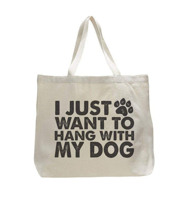 I Just Want To Hang With My Dog - Trendy Natural Canvas Bag - Funny and Unique - Tote Bag  Womens Tank Tops