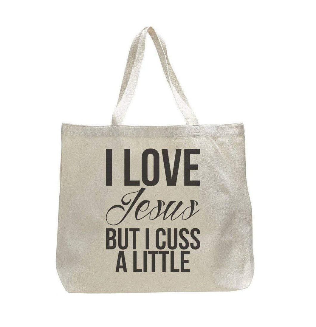 I Love Jesus But I Cuss A Little - Trendy Natural Canvas Bag - Funny and Unique - Tote Bag  Womens Tank Tops