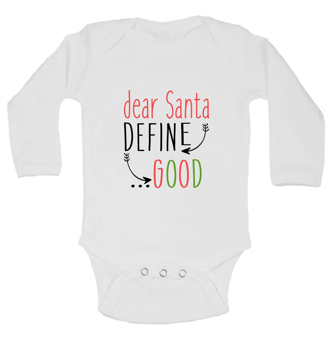 Christmas Onesies -ξDear Santa DEFINE GOOD FUNNY KIDS ONESIE Long Sleeve 0-3 Months Womens Tank Tops
