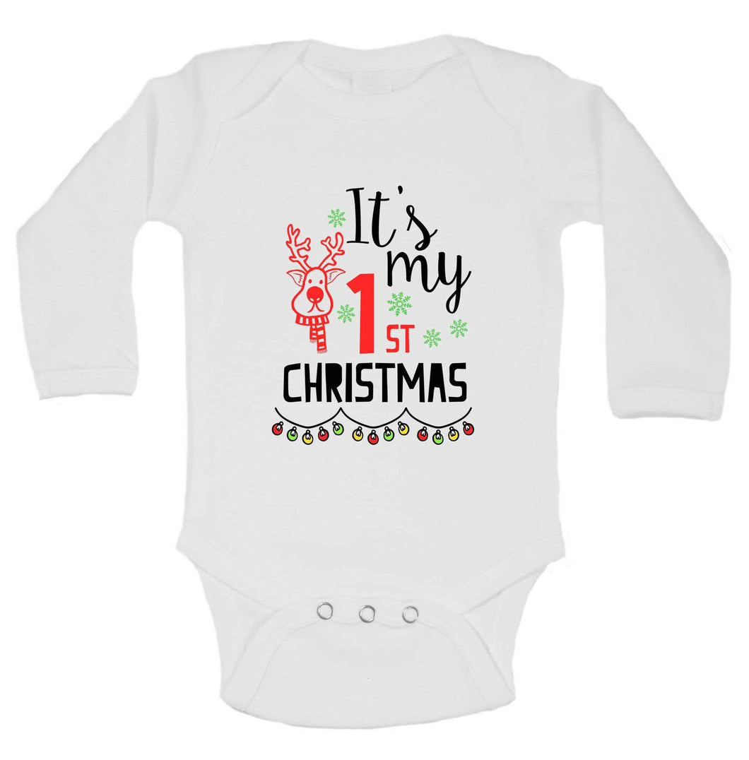Christmas Onesies -ξIt's My 1st CHRISTMAS FUNNY KIDS ONESIE Long Sleeve 0-3 Months Womens Tank Tops