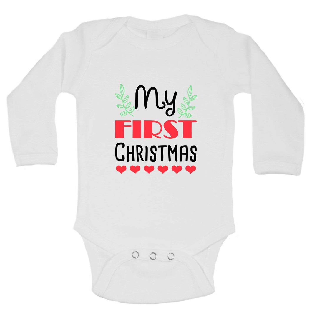 Christmas Onesies -ξMy FIRST CHRISTMAS FUNNY KIDS ONESIE Long Sleeve 0-3 Months Womens Tank Tops