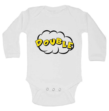 Double FUNNY KIDS ONESIE Long Sleeve 0-3 Months Womens Tank Tops