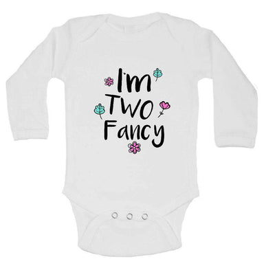 I'm Two Fancy FUNNY KIDS ONESIE Long Sleeve 0-3 Months Womens Tank Tops