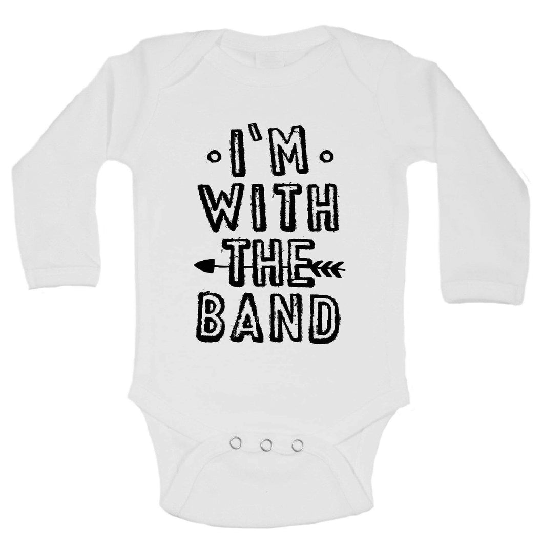 I'm With The Band Funny Kids Onesie Long Sleeve 0-3 Months Womens Tank Tops
