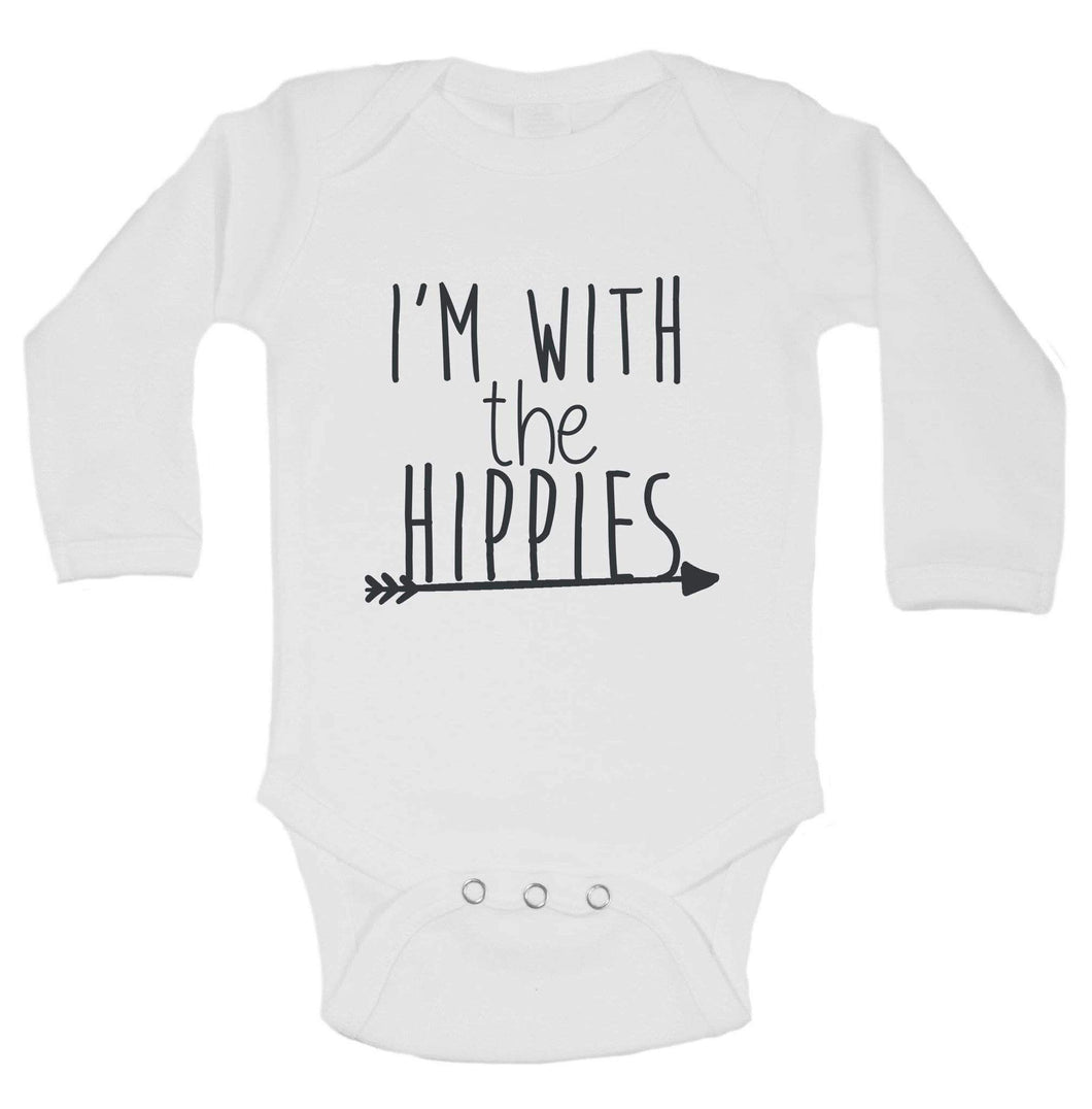 I'm With The Hippies Funny Kids Onesie Long Sleeve 0-3 Months Womens Tank Tops
